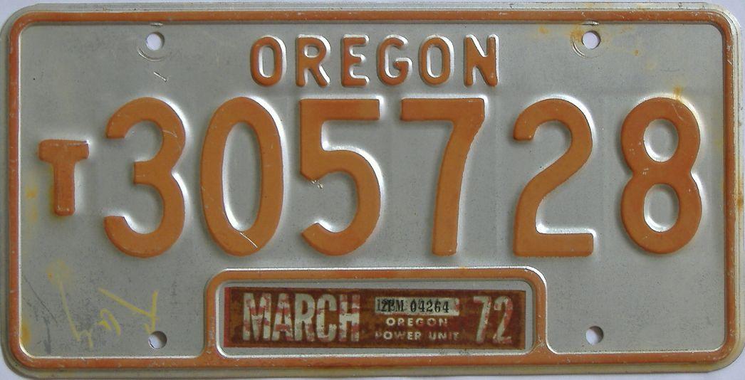 1972 Oregon license plate for sale