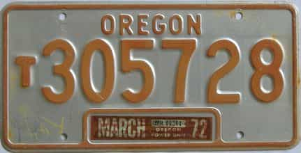 1972 Oregon (Truck) license plate for sale