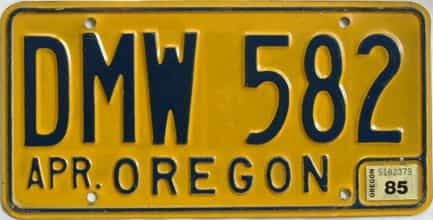 1985 Oregon (Natural Single) license plate for sale