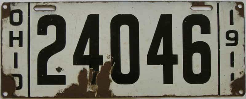 1911 Ohio (Single) license plate for sale