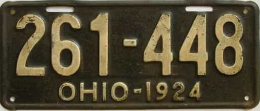 1924 Ohio (Single) license plate for sale