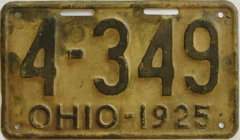 1925 Ohio  (Single) license plate for sale