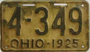 1925 Ohio  (Single) license plate for sale