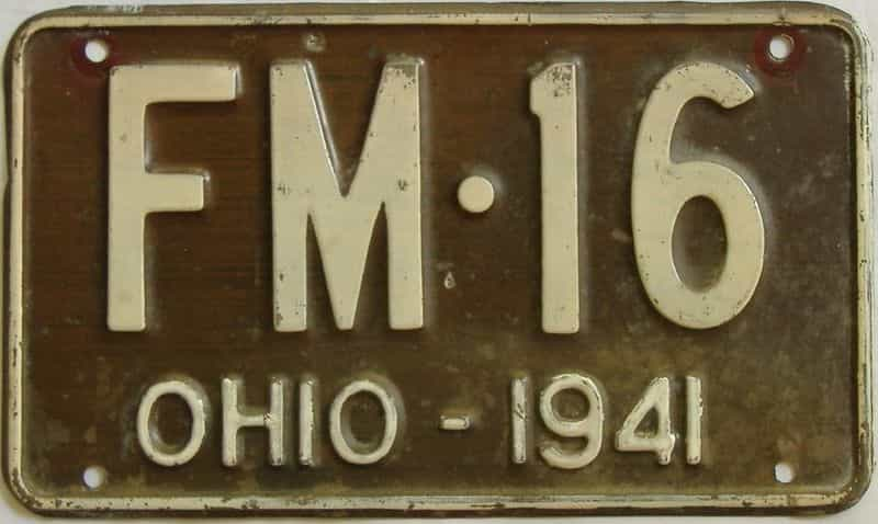 1941 OH (Single) license plate for sale