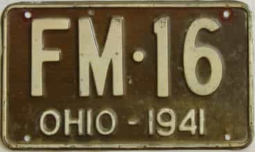 1941 Ohio (Single) license plate for sale