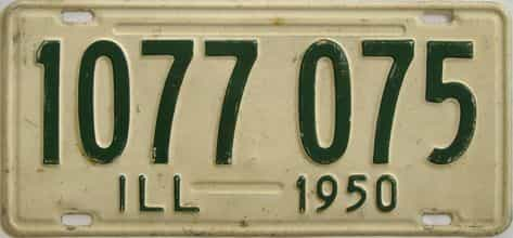 1950 Illinois (Single) license plate for sale