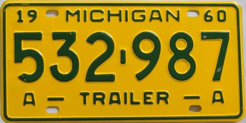1960 MI (Trailer) license plate for sale