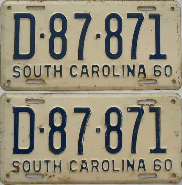 1960 South Carolina (Pair) license plate for sale