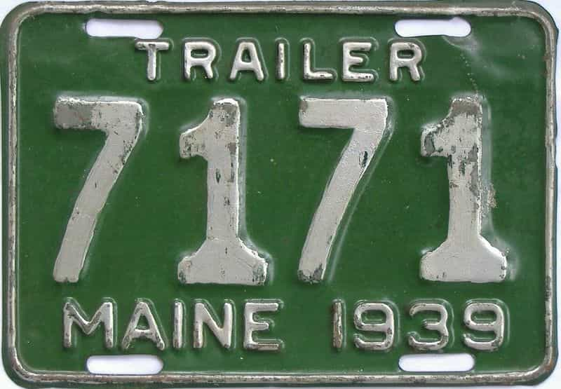1939 Maine (Trailer) license plate for sale