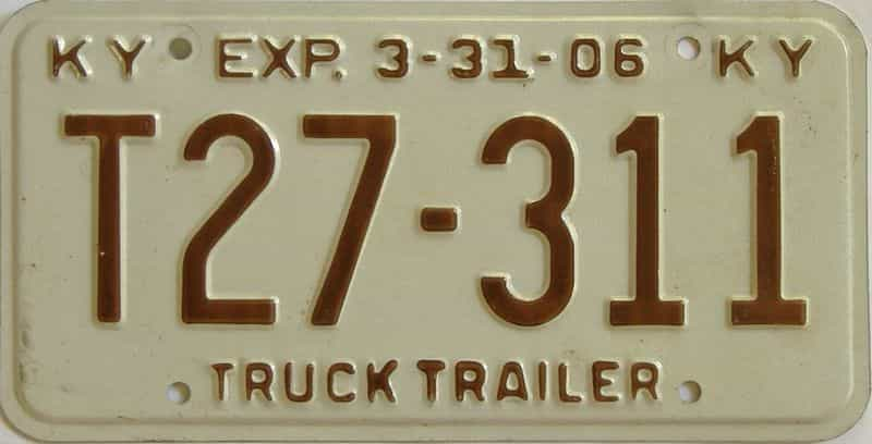2006 Kentucky  (Trailer) license plate for sale
