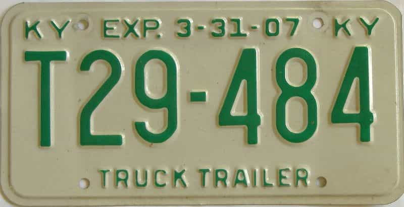 2007 Kentucky  (Trailer) license plate for sale