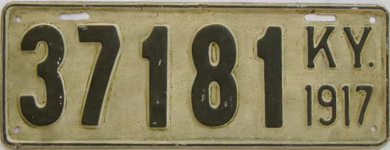 1917 Kentucky (Older Restoration) license plate for sale