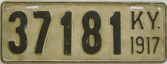 1917 Kentucky (Older Restoration) license plate for sale