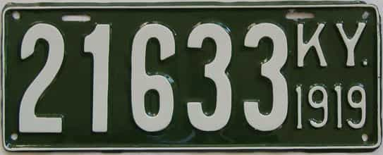 1919 Kentucky (Very Nice Repaint) license plate for sale