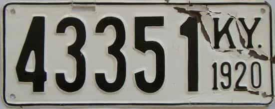 1920 Kentucky (Older Repaint) license plate for sale