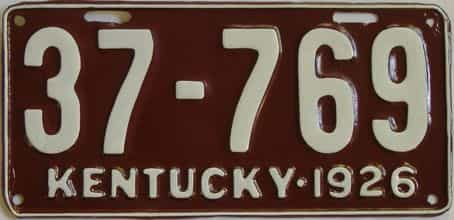 1926 Kentucky (Very Nice Repaint) license plate for sale