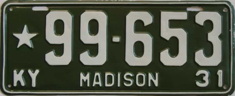 1931 KY (Very Nice Repaint) license plate for sale