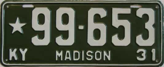1931 Kentucky (Very Nice Repaint) license plate for sale