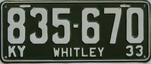 1933 Kentucky (Very Nice Older Repaint) license plate for sale