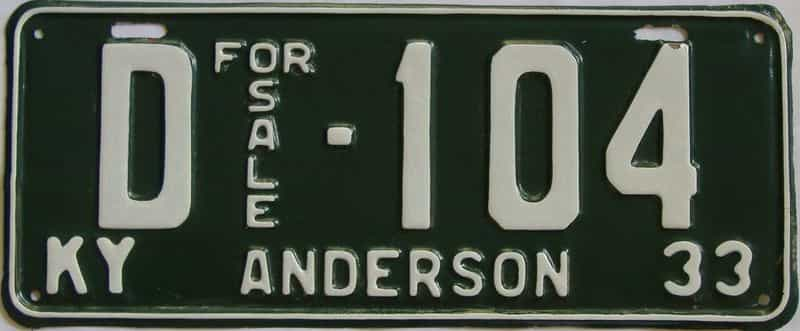1933 Kentucky (Very Nice Repaint) license plate for sale