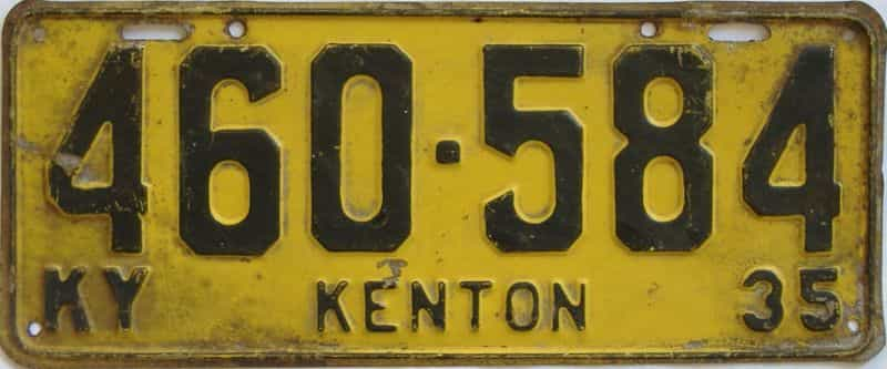 1935 Kentucky (Single) license plate for sale