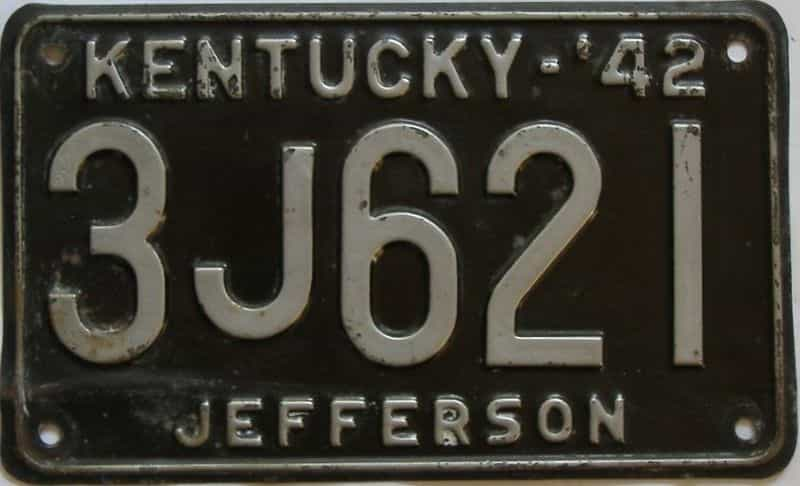 1942 Kentucky (Single) license plate for sale