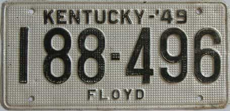 1949 Kentucky license plate for sale