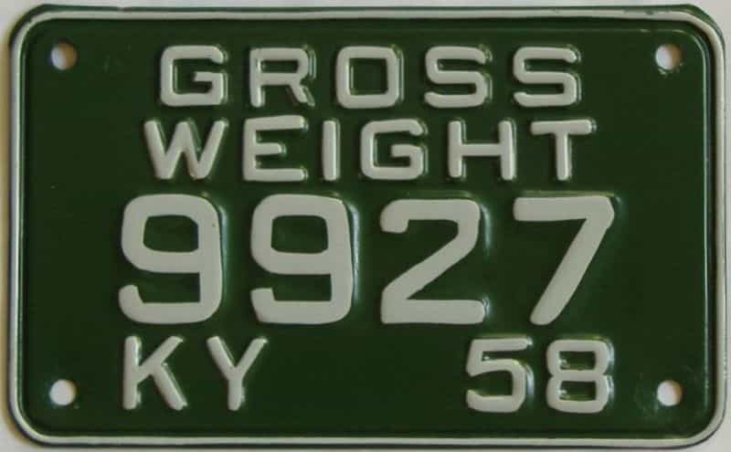 1958 Kentucky  (Amatuer Repaint) license plate for sale