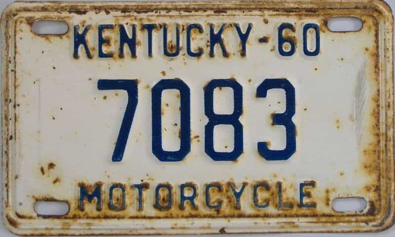 1960 Kentucky (Motorcycle) license plate for sale