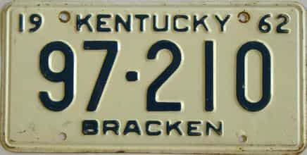 1962 Kentucky license plate for sale