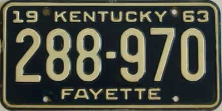 1963 Kentucky license plate for sale