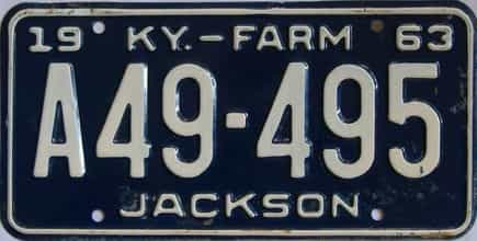 1963 Kentucky (Farm) license plate for sale