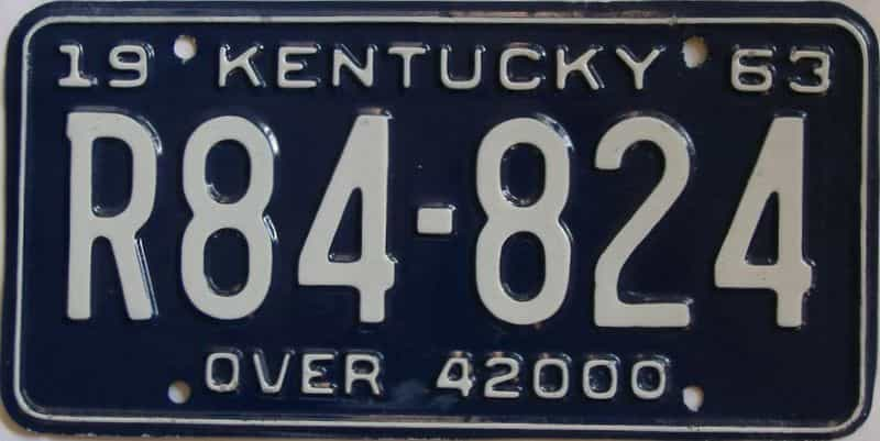 1963 Kentucky (Truck) license plate for sale