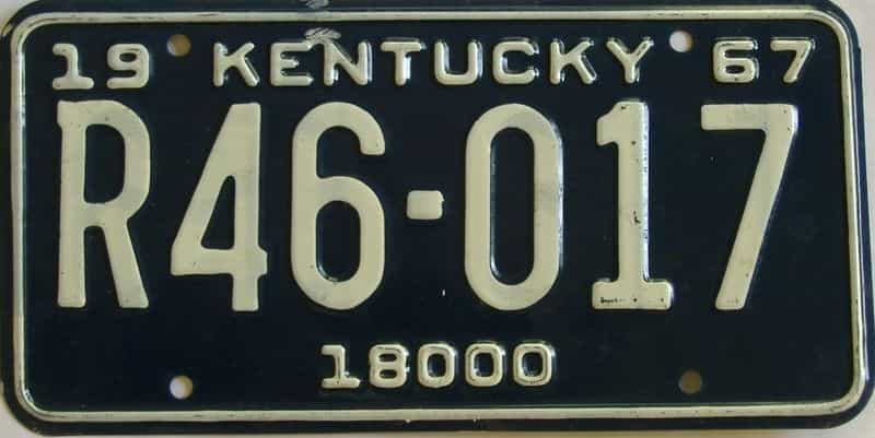 1967 Kentucky (Truck) license plate for sale