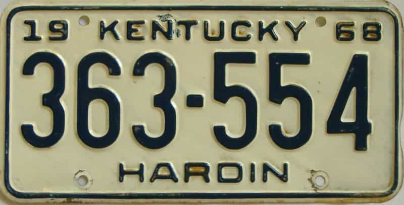 1968 Kentucky license plate for sale