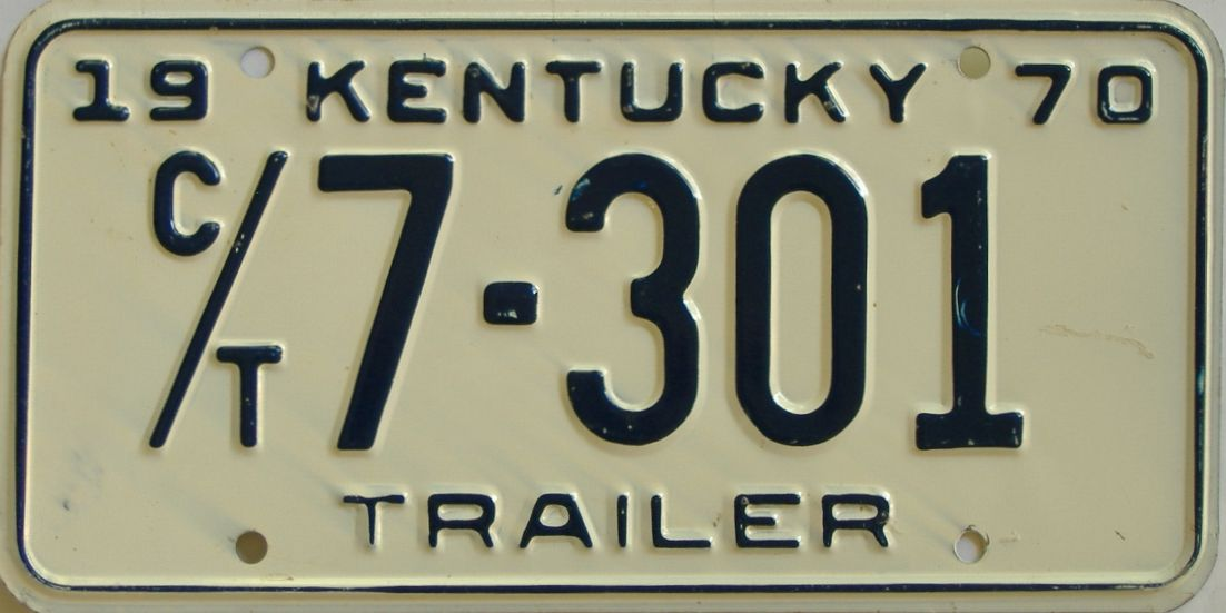 1970 Kentucky (Trailer) license plate for sale