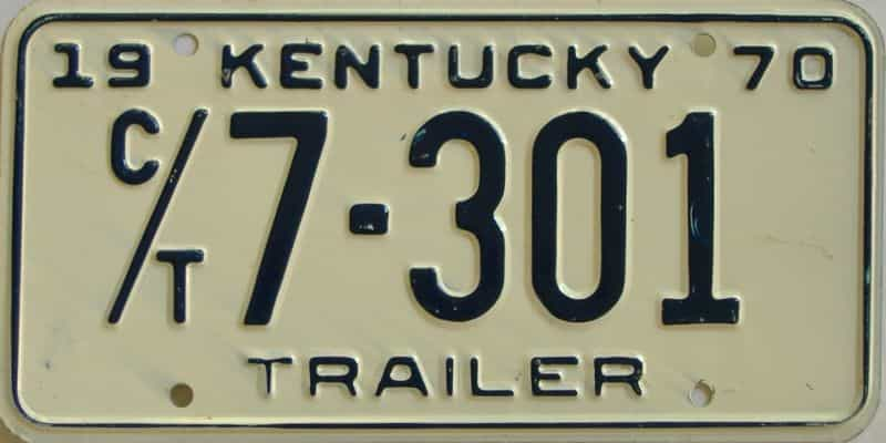 1970 KY (Trailer) license plate for sale