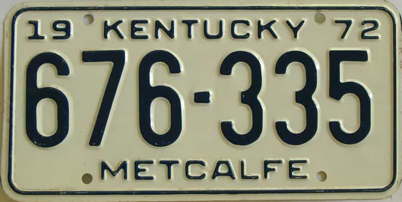 1972 Kentucky license plate for sale