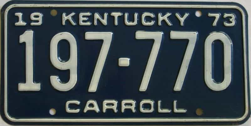 1973 Kentucky license plate for sale