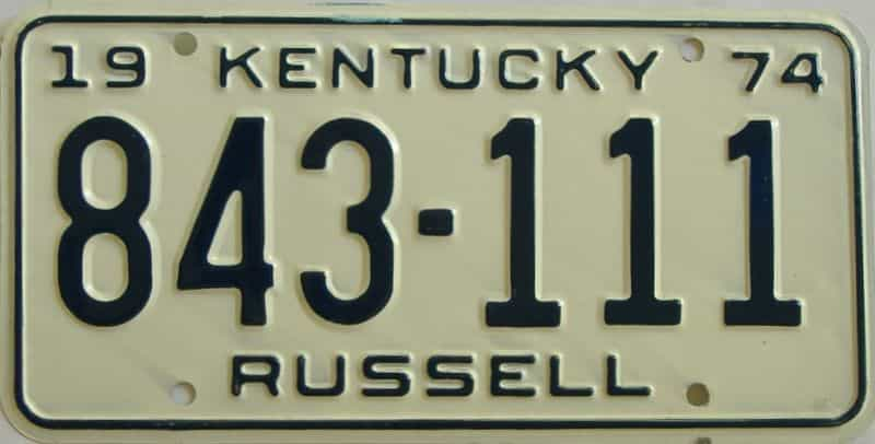 1974 Kentucky license plate for sale