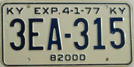 1977 Kentucky (Non Pass) license plate for sale