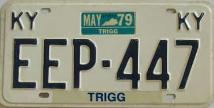 1979 Kentucky license plate for sale