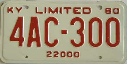 1980 Kentucky license plate for sale