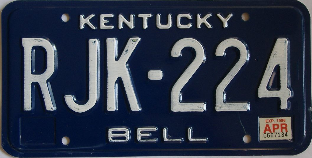 1986 Kentucky license plate for sale
