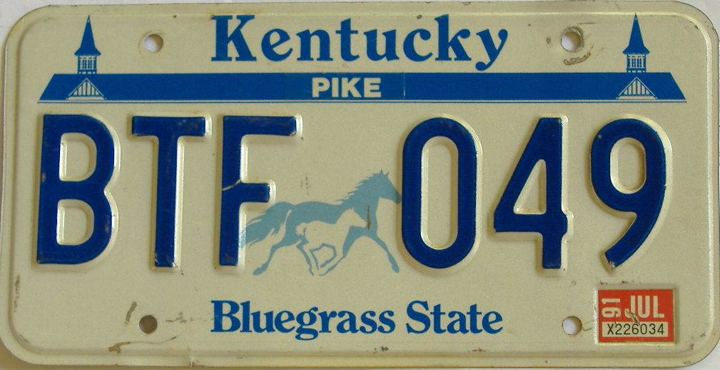 1991 Kentucky license plate for sale