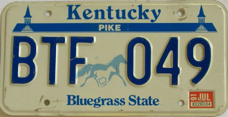 1991 KY license plate for sale