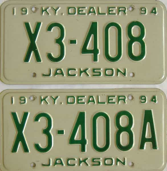 1994 Kentucky (Dealer) license plate for sale
