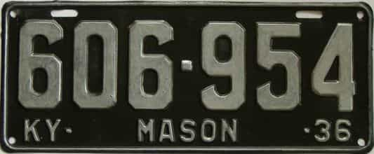 1936 Kentucky (Older Repaint) license plate for sale