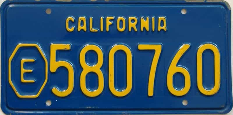 1970 California (Single) license plate for sale