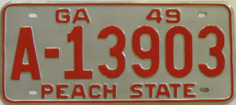 YOM RESTORED 1949 GA license plate for sale